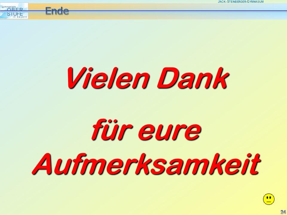 J ACK -S TEINBERGER -G YMNASIUM Vielen Dank für eure Aufmerksamkeit 24
