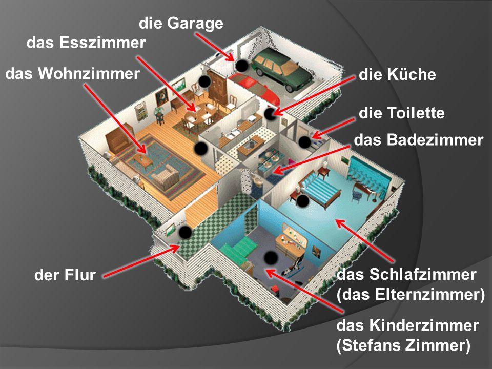 die Küche das Badezimmer der Flur das Schlafzimmer (das Elternzimmer) die Garage das Wohnzimmer das Esszimmer das Kinderzimmer (Stefans Zimmer) die Toilette