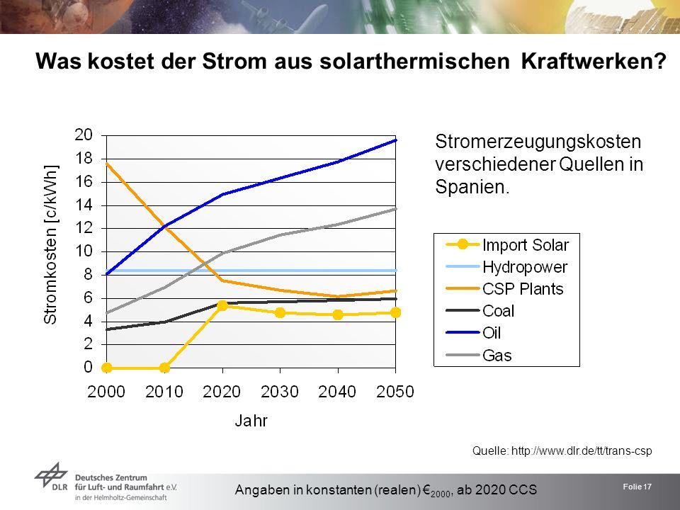 Folie 17 Was kostet der Strom aus solarthermischen Kraftwerken? Quelle: http://www.dlr.de/tt/trans-csp Stromerzeugungskosten verschiedener Quellen in