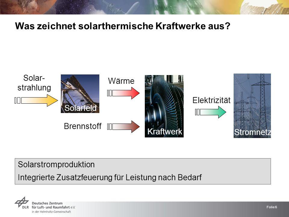 Folie 6 Elektrizität Was zeichnet solarthermische Kraftwerke aus? Solar- strahlung Wärme Solarfeld Kraftwerk Stromnetz Solarstromproduktion Integriert