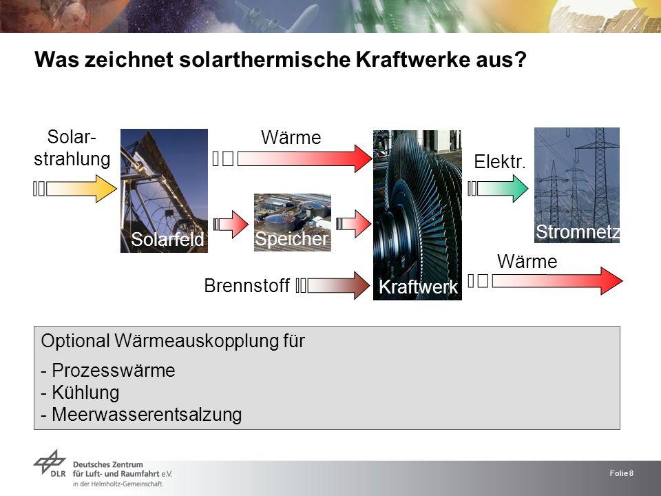 Folie 8 Elektr. Was zeichnet solarthermische Kraftwerke aus? Solar- strahlung Wärme Solarfeld Kraftwerk Stromnetz Optional Wärmeauskopplung für - Proz
