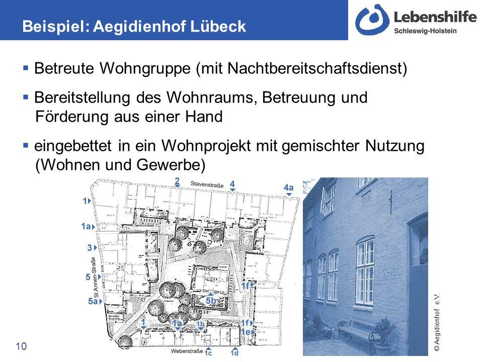 Beispiel: Aegidienhof Lübeck 10 Betreute Wohngruppe (mit Nachtbereitschaftsdienst) Bereitstellung des Wohnraums, Betreuung und Förderung aus einer Han