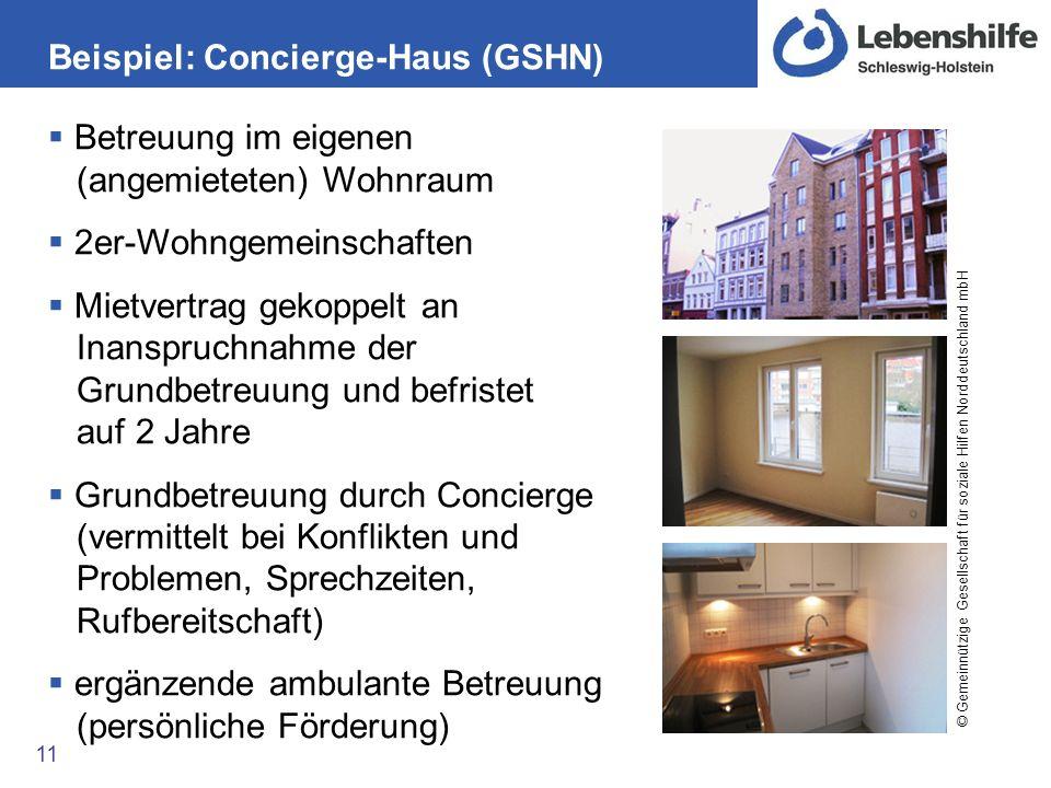 Beispiel: Concierge-Haus (GSHN) 11 Betreuung im eigenen (angemieteten) Wohnraum 2er-Wohngemeinschaften Mietvertrag gekoppelt an Inanspruchnahme der Gr