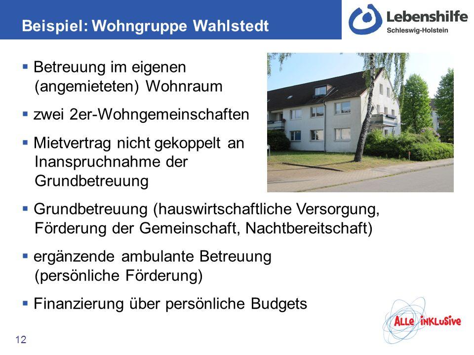 Beispiel: Wohngruppe Wahlstedt 12 Betreuung im eigenen (angemieteten) Wohnraum zwei 2er-Wohngemeinschaften Mietvertrag nicht gekoppelt an Inanspruchna