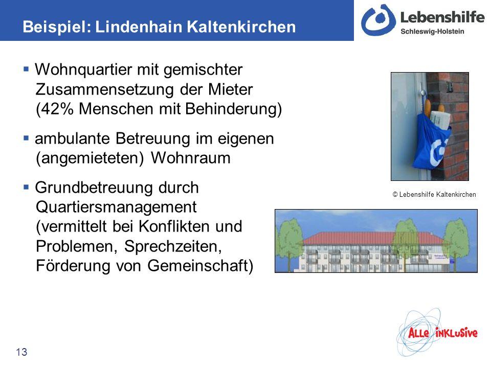 Beispiel: Lindenhain Kaltenkirchen 13 Wohnquartier mit gemischter Zusammensetzung der Mieter (42% Menschen mit Behinderung) ambulante Betreuung im eig