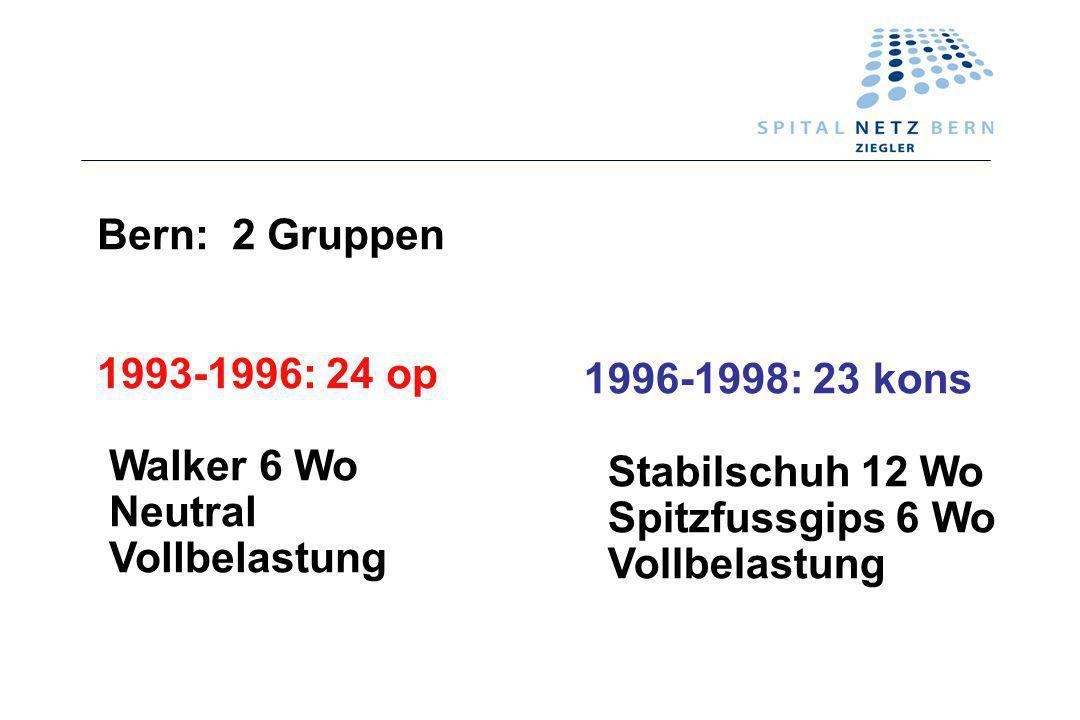 Bern: 2 Gruppen 1993-1996: 24 op Walker 6 Wo Neutral Vollbelastung 1996-1998: 23 kons Stabilschuh 12 Wo Spitzfussgips 6 Wo Vollbelastung
