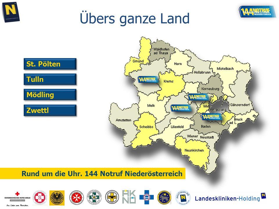 Zwettl Tulln Mödling St. Pölten Rund um die Uhr. 144 Notruf Niederösterreich Übers ganze Land