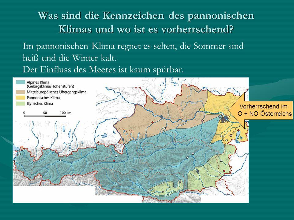 Was sind die Kennzeichen des pannonischen Klimas und wo ist es vorherrschend? Im pannonischen Klima regnet es selten, die Sommer sind heiß und die Win