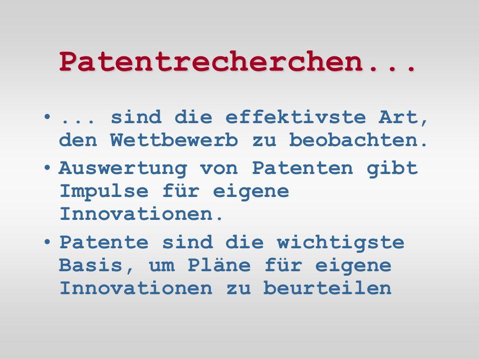 Patentrecherchen...... sind die effektivste Art, den Wettbewerb zu beobachten.