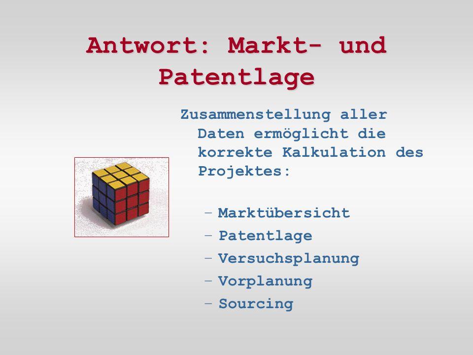 Antwort: Markt- und Patentlage Zusammenstellung aller Daten ermöglicht die korrekte Kalkulation des Projektes: –Marktübersicht –Patentlage –Versuchsplanung –Vorplanung –Sourcing