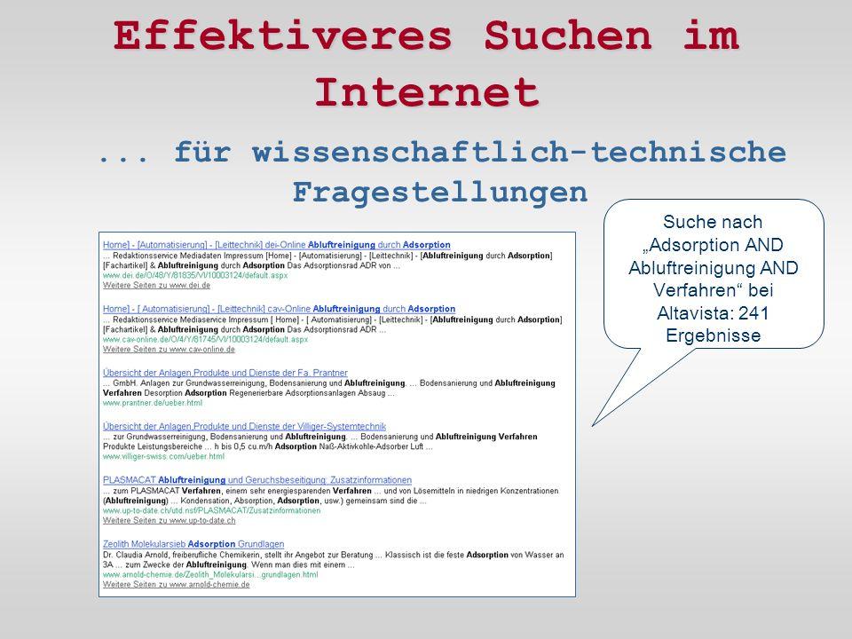 Effektiveres Suchen im Internet...