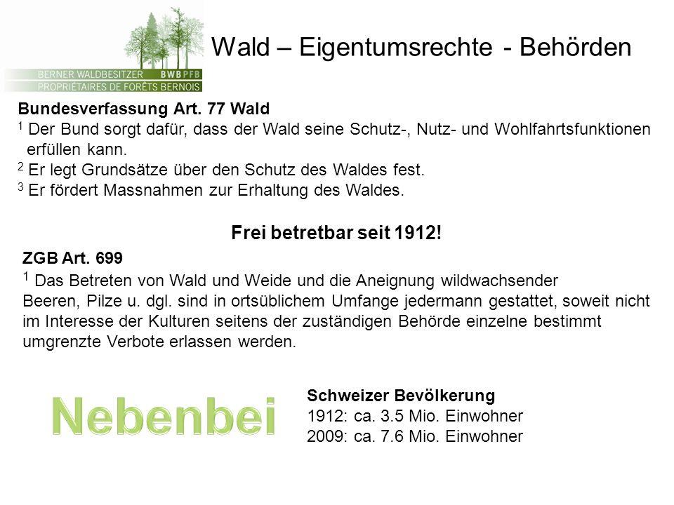 Wald – Eigentumsrechte - Behörden Bundesverfassung Art. 77 Wald 1 Der Bund sorgt dafür, dass der Wald seine Schutz-, Nutz- und Wohlfahrtsfunktionen er