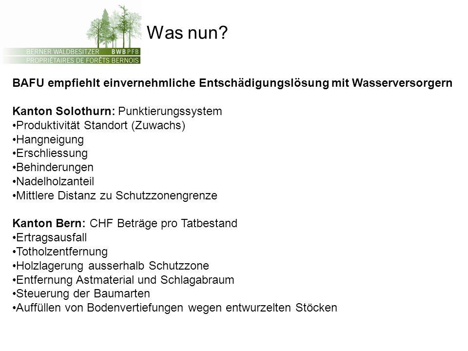 Was nun? BAFU empfiehlt einvernehmliche Entschädigungslösung mit Wasserversorgern Kanton Solothurn: Punktierungssystem Produktivität Standort (Zuwachs