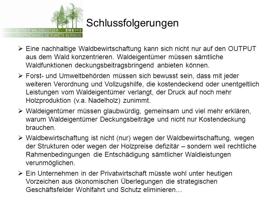 Schlussfolgerungen Eine nachhaltige Waldbewirtschaftung kann sich nicht nur auf den OUTPUT aus dem Wald konzentrieren.