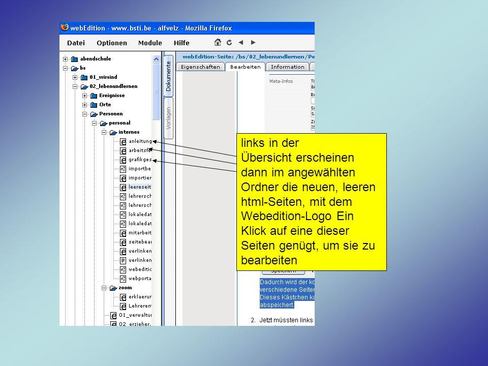 links in der Übersicht erscheinen dann im angewählten Ordner die neuen, leeren html-Seiten, mit dem Webedition-Logo Ein Klick auf eine dieser Seiten g