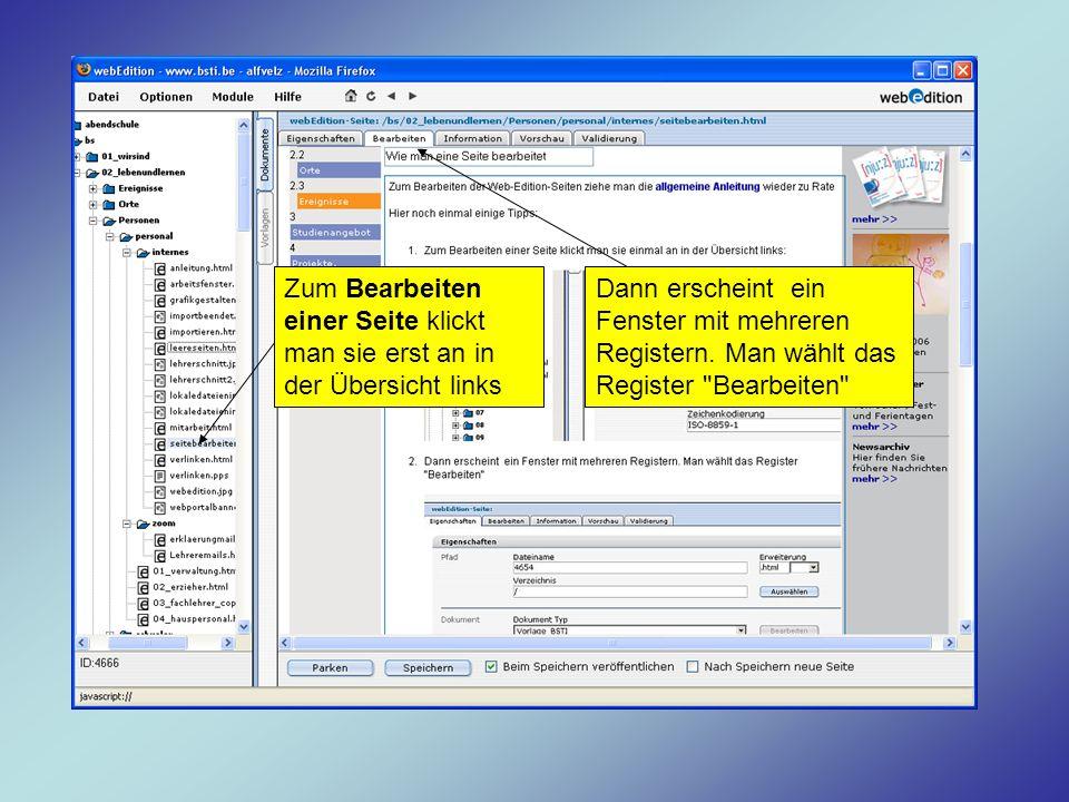 Zum Bearbeiten einer Seite klickt man sie erst an in der Übersicht links Dann erscheint ein Fenster mit mehreren Registern. Man wählt das Register