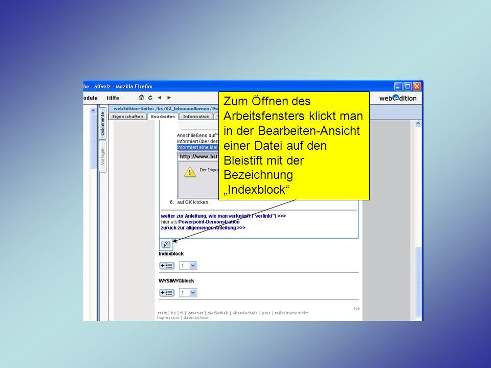 Zum Öffnen des Arbeitsfensters klickt man in der Bearbeiten-Ansicht einer Datei auf den Bleistift mit der Bezeichnung Indexblock
