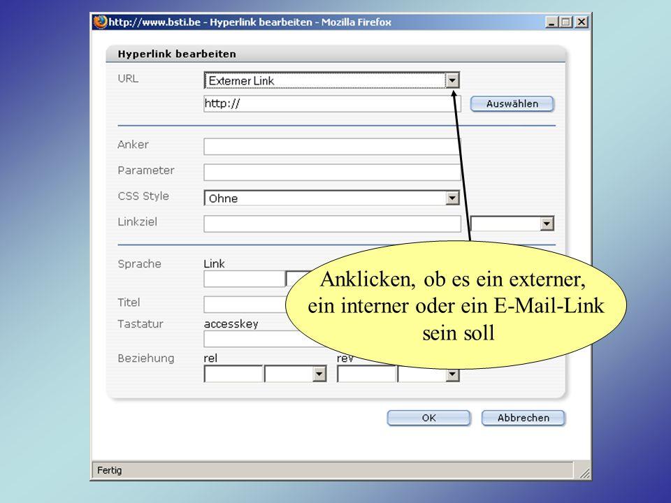 Anklicken, ob es ein externer, ein interner oder ein E-Mail-Link sein soll
