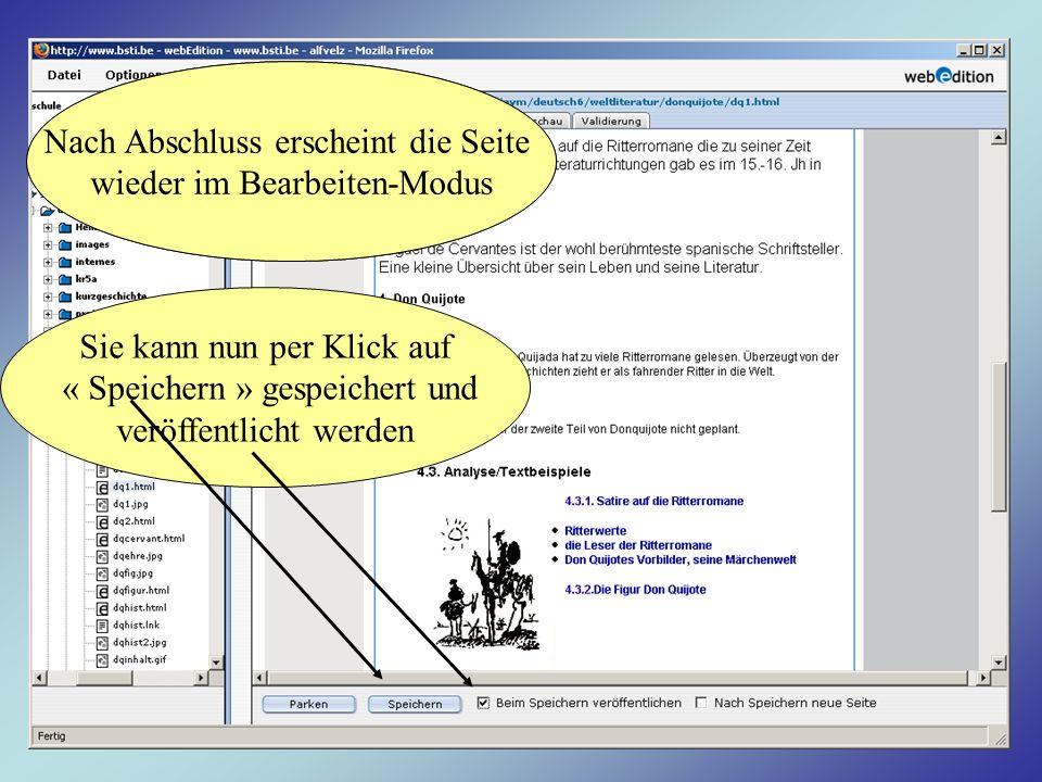 Nach Abschluss erscheint die Seite wieder im Bearbeiten-Modus Sie kann nun per Klick auf « Speichern » gespeichert und veröffentlicht werden Nach Absc