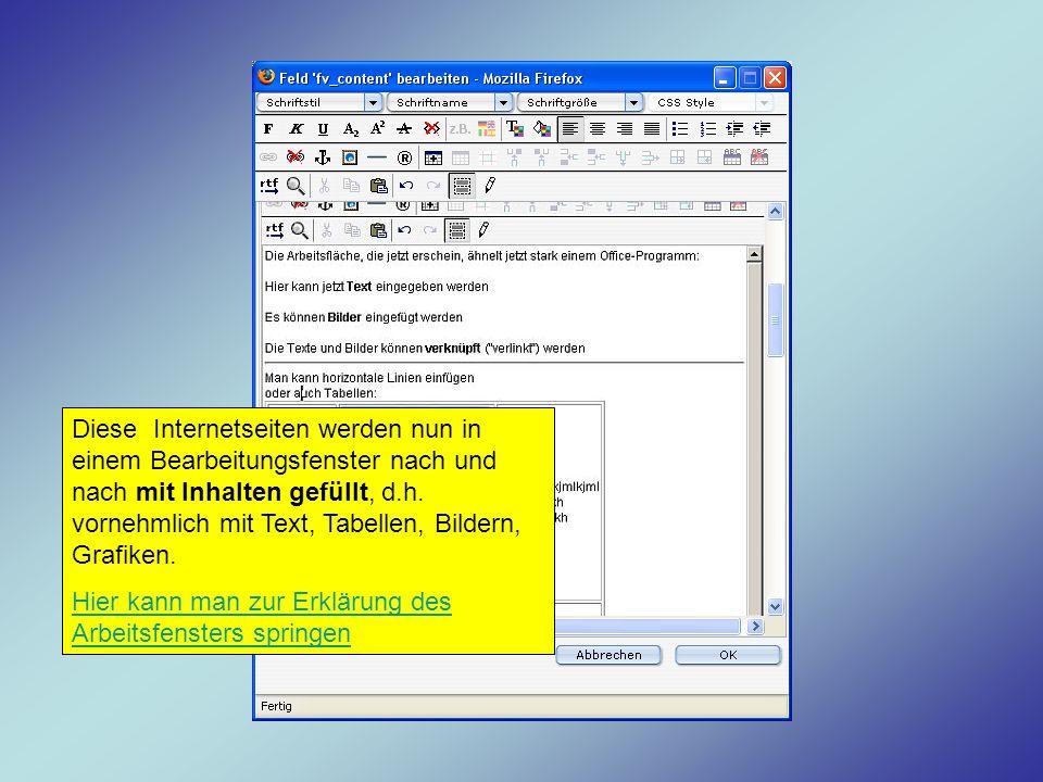 Diese Internetseiten werden nun in einem Bearbeitungsfenster nach und nach mit Inhalten gefüllt, d.h. vornehmlich mit Text, Tabellen, Bildern, Grafike