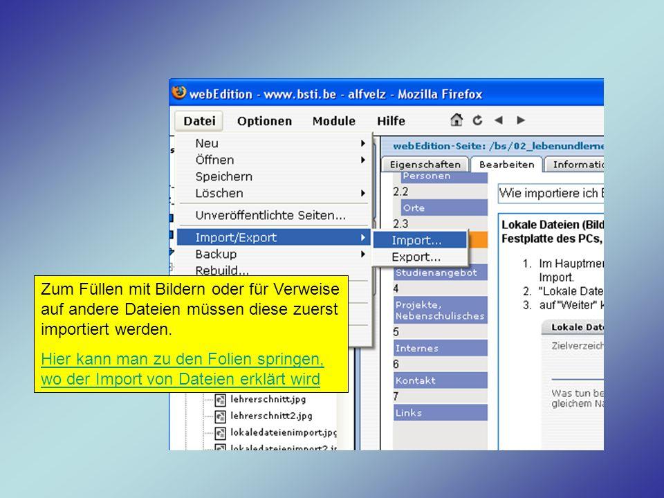 Zum Füllen mit Bildern oder für Verweise auf andere Dateien müssen diese zuerst importiert werden. Hier kann man zu den Folien springen, wo der Import