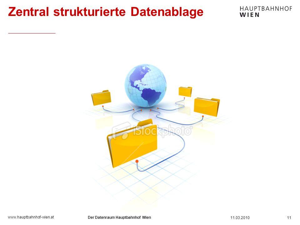 www.hauptbahnhof-wien.at Zentral strukturierte Datenablage 11 11.03.2010 Der Datenraum Hauptbahnhof Wien