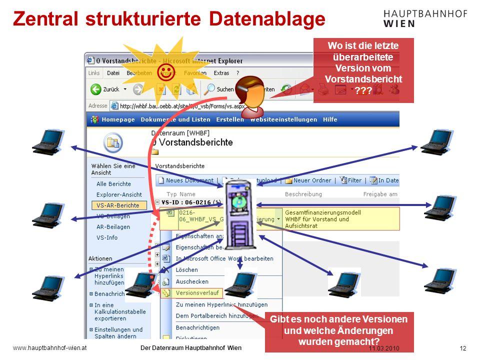 www.hauptbahnhof-wien.at Zentral strukturierte Datenablage 12 Wo ist die letzte überarbeitete Version vom Vorstandsbericht ??? Gibt es noch andere Ver