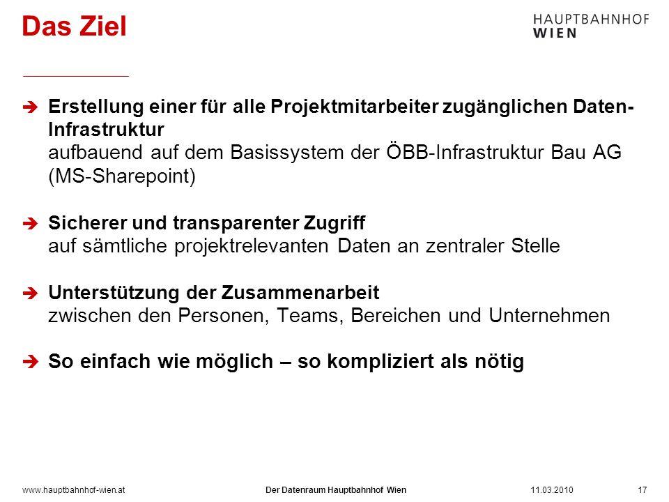 www.hauptbahnhof-wien.at Erstellung einer für alle Projektmitarbeiter zugänglichen Daten- Infrastruktur aufbauend auf dem Basissystem der ÖBB-Infrastr