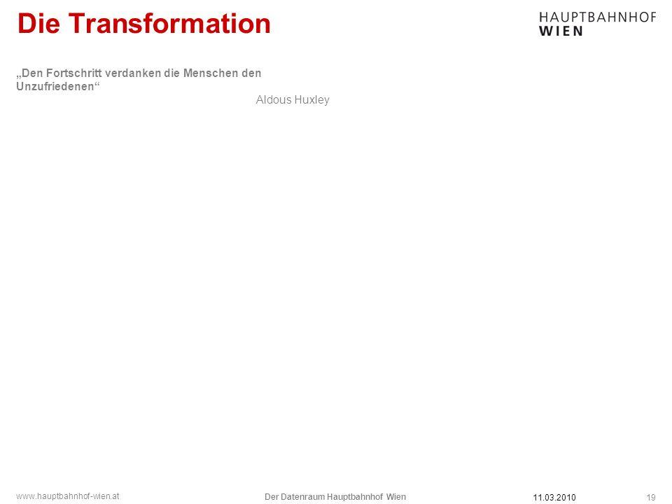 www.hauptbahnhof-wien.at Die Transformation 11.03.2010 Der Datenraum Hauptbahnhof Wien 19 Den Fortschritt verdanken die Menschen den Unzufriedenen Ald