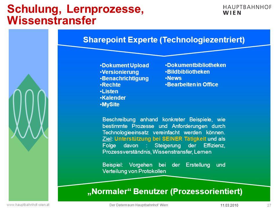 www.hauptbahnhof-wien.at Schulung, Lernprozesse, Wissenstransfer 27 Sharepoint Experte (Technologiezentriert) Normaler Benutzer (Prozessorientiert) Be