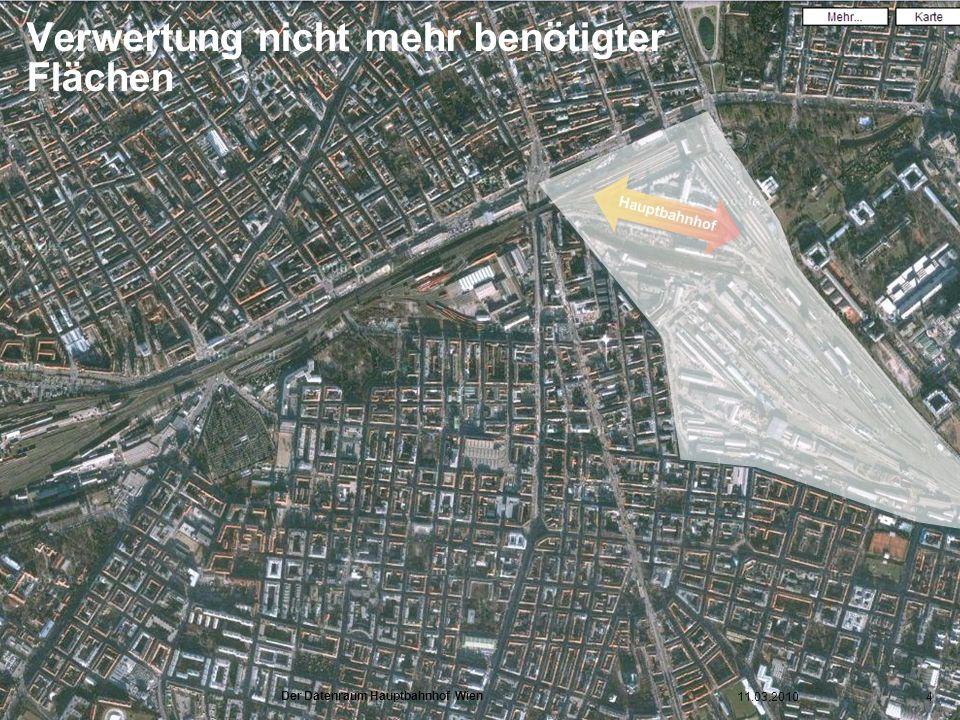www.hauptbahnhof-wien.at Verwertung nicht mehr benötigter Flächen Hauptbahnhof 11.03.20104 Der Datenraum Hauptbahnhof Wien
