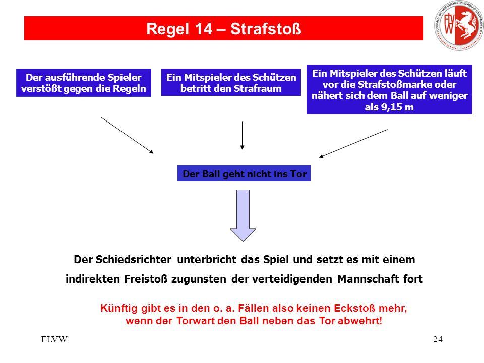 FLVW23 Regelfrage: Um dem Gegner die Chance zu nehmen, einen verheißungsvollen Angriff zu starten, begeht ein Spieler gegen seinen Gegenspieler ein Ta