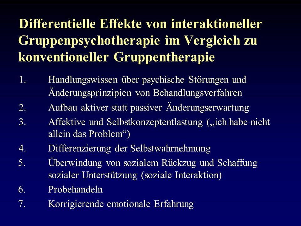Differentielle Effekte von interaktioneller Gruppenpsychotherapie im Vergleich zu konventioneller Gruppentherapie 1.