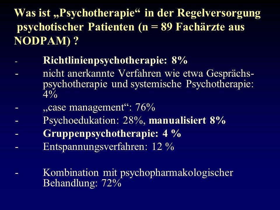 Was ist Psychotherapie in der Regelversorgung psychotischer Patienten (n = 89 Fachärzte aus NODPAM) .