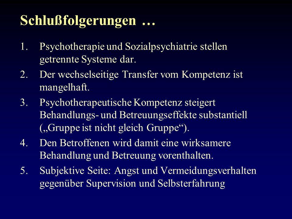 Schlußfolgerungen … 1.Psychotherapie und Sozialpsychiatrie stellen getrennte Systeme dar.