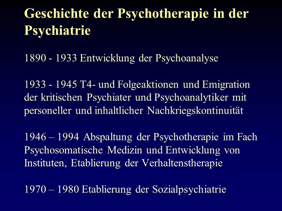 Geschichte der Psychotherapie in der Psychiatrie 1890 - 1933 Entwicklung der Psychoanalyse 1933 - 1945 T4- und Folgeaktionen und Emigration der kritischen Psychiater und Psychoanalytiker mit personeller und inhaltlicher Nachkriegskontinuität 1946 – 1994 Abspaltung der Psychotherapie im Fach Psychosomatische Medizin und Entwicklung von Instituten, Etablierung der Verhaltenstherapie 1970 – 1980 Etablierung der Sozialpsychiatrie