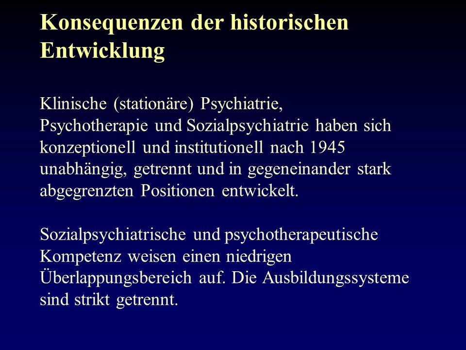 Konsequenzen der historischen Entwicklung Klinische (stationäre) Psychiatrie, Psychotherapie und Sozialpsychiatrie haben sich konzeptionell und institutionell nach 1945 unabhängig, getrennt und in gegeneinander stark abgegrenzten Positionen entwickelt.