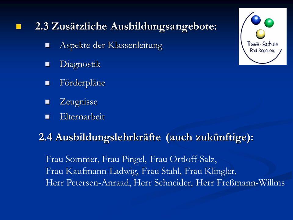2.3 Zusätzliche Ausbildungsangebote: 2.3 Zusätzliche Ausbildungsangebote: Aspekte der Klassenleitung Aspekte der Klassenleitung Diagnostik Diagnostik