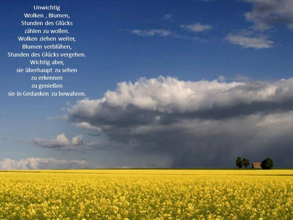 Unwichtig Wolken, Blumen, Stunden des Glücks zählen zu wollen. Wolken ziehen weiter, Blumen verblühen, Stunden des Glücks vergehen. Wichtig aber, sie