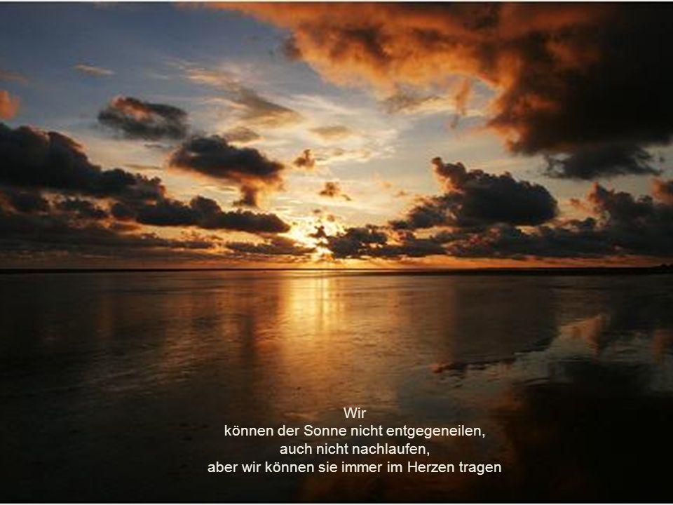 Wir können der Sonne nicht entgegeneilen, auch nicht nachlaufen, aber wir können sie immer im Herzen tragen
