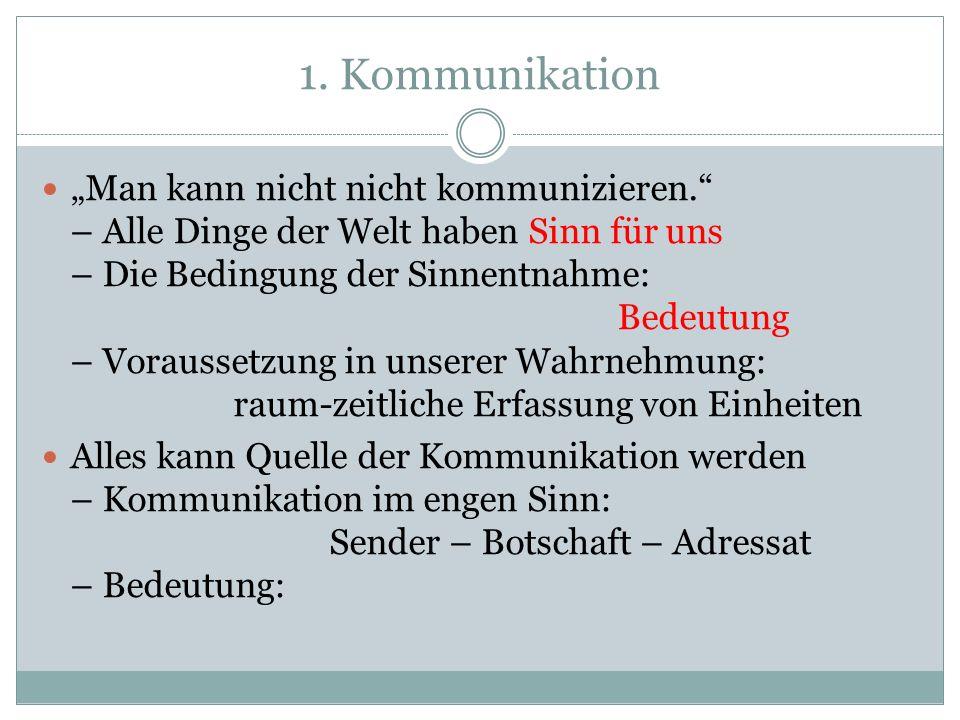 1.Kommunikation Man kann nicht nicht kommunizieren.