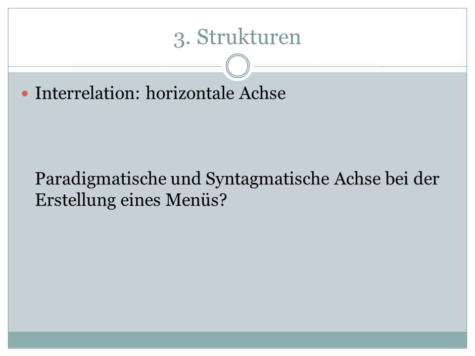 3. Strukturen Interrelation: horizontale Achse Paradigmatische und Syntagmatische Achse bei der Erstellung eines Menüs?