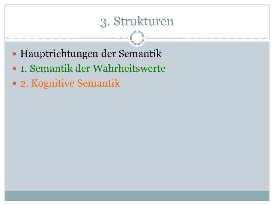 3. Strukturen Hauptrichtungen der Semantik 1. Semantik der Wahrheitswerte 2. Kognitive Semantik