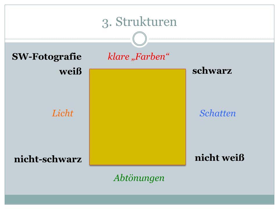3. Strukturen weiß schwarz nicht weiß nicht-schwarz klare Farben LichtSchatten Abtönungen SW-Fotografie