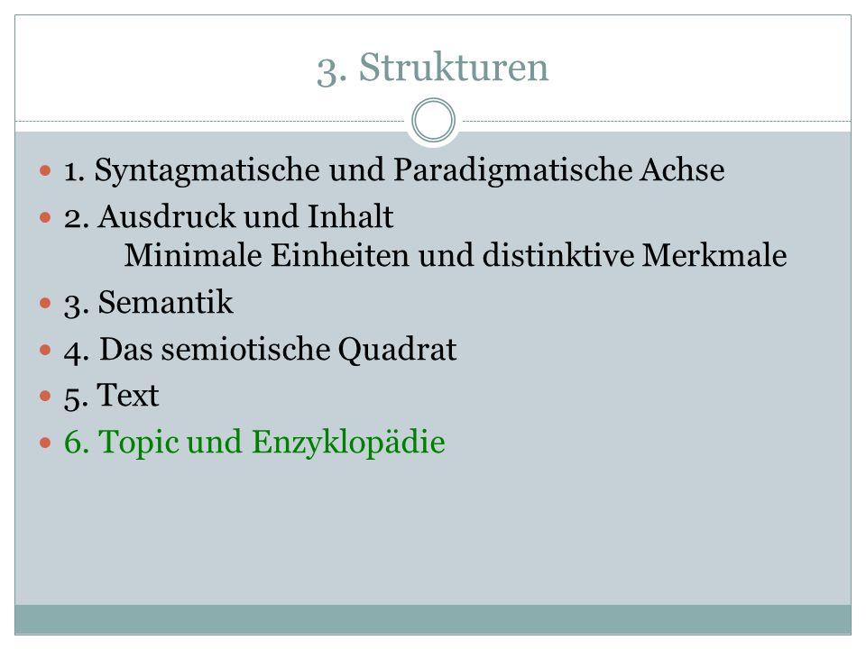 3.Strukturen 1. Syntagmatische und Paradigmatische Achse 2.