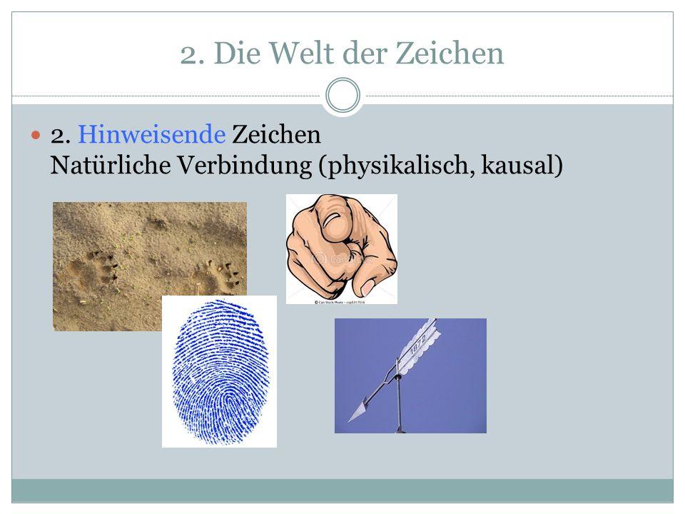 2. Die Welt der Zeichen 2. Hinweisende Zeichen Natürliche Verbindung (physikalisch, kausal)
