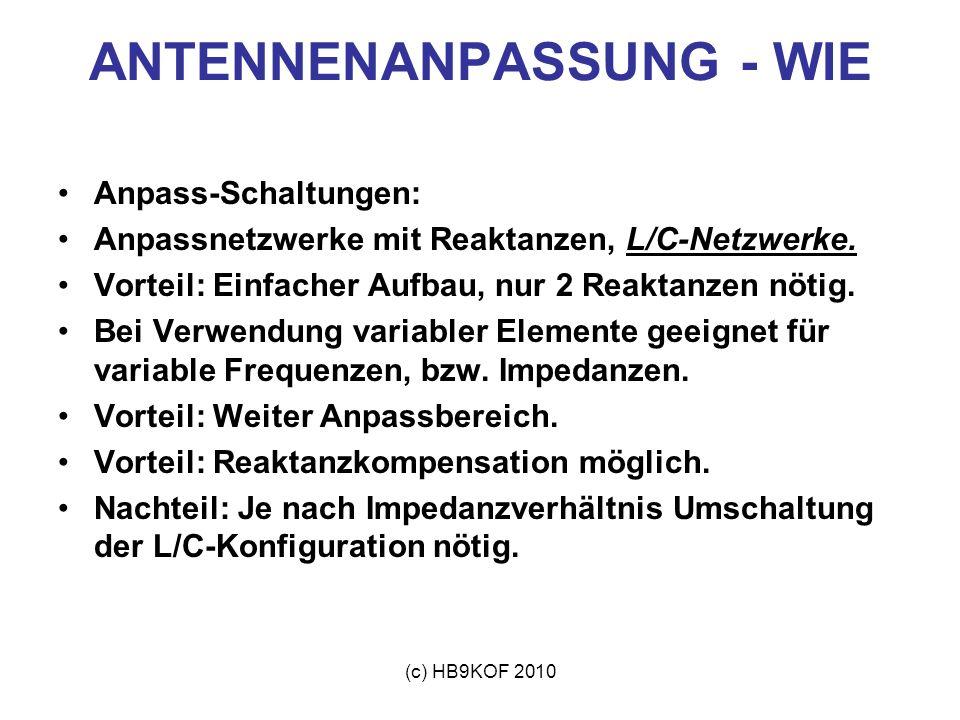 (c) HB9KOF 2010 ANTENNENANPASSUNG - WIE Anpass-Schaltungen: Anpassnetzwerke mit Reaktanzen, L/C-Netzwerke. Vorteil: Einfacher Aufbau, nur 2 Reaktanzen