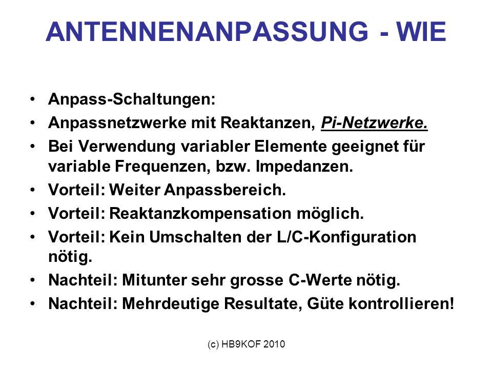 (c) HB9KOF 2010 ANTENNENANPASSUNG - WIE Anpass-Schaltungen: Anpassnetzwerke mit Reaktanzen, Pi-Netzwerke. Bei Verwendung variabler Elemente geeignet f