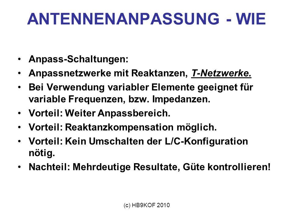 (c) HB9KOF 2010 ANTENNENANPASSUNG - WIE Anpass-Schaltungen: Anpassnetzwerke mit Reaktanzen, T-Netzwerke. Bei Verwendung variabler Elemente geeignet fü