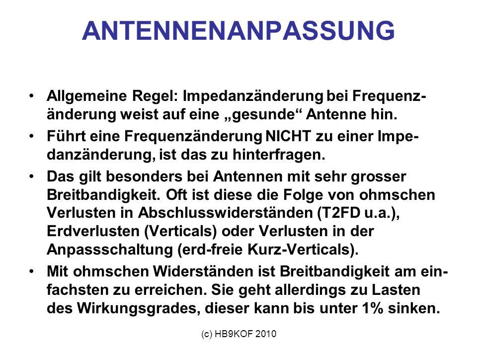 (c) HB9KOF 2010 Allgemeine Regel: Impedanzänderung bei Frequenz- änderung weist auf eine gesunde Antenne hin. Führt eine Frequenzänderung NICHT zu ein